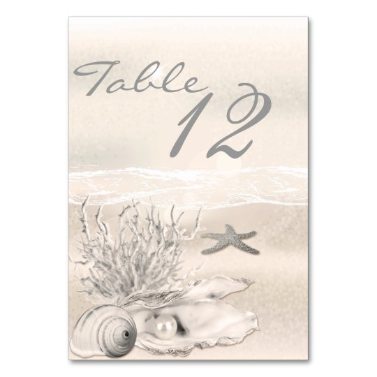 Dream Shore Beach Sepia Wedding Table Number