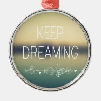 Dream Silver-Colored Round Ornament