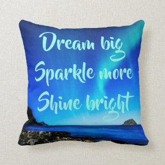 Dream Sparkle Shine Night Beach Aurora Lights Throw Pillow