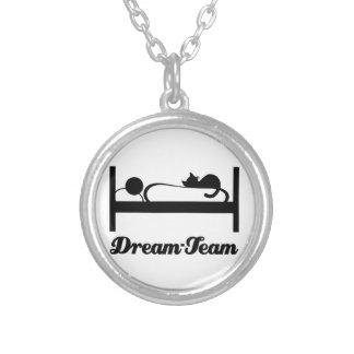 Dream team Sleeping with Cat. Silver Plated Necklace