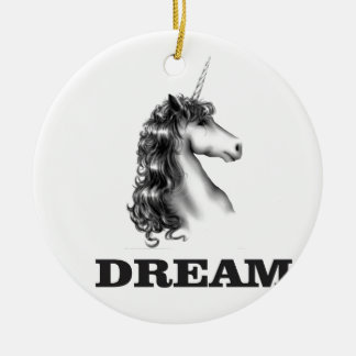 dream unicornf round ceramic ornament