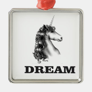 dream unicornf Silver-Colored square ornament