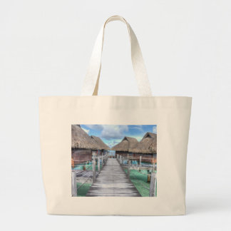 Dream Vacation Bora Bora Overwater Bungalows Large Tote Bag
