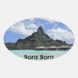 Dream Vacation Bora Bora Tahiti Atoll Formation Oval Sticker