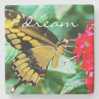 """Dream"" yellow black butterfly photo stone coaster"