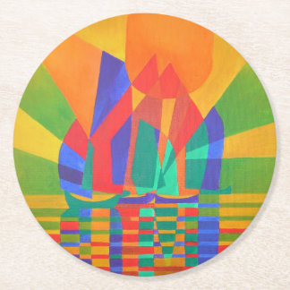 Dreamboat - Cubist Junk In Primary Colors Round Paper Coaster