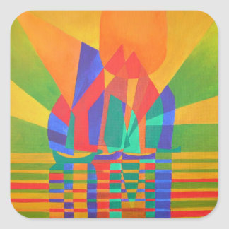 Dreamboat - Cubist Junk In Primary Colors Square Sticker