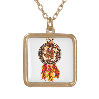 Dreamcatcher 2 gold plated necklace