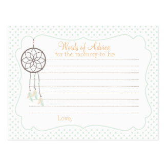 Dreamcatcher Baby Shower Advice card for mom Postcard