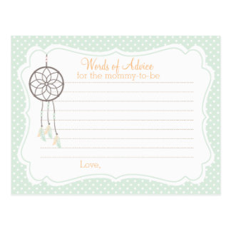 Dreamcatcher Baby Shower Advice card for mommy Postcard