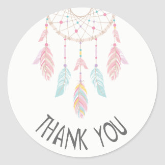Dreamcatcher Boho Baby Shower Sticker Thank You