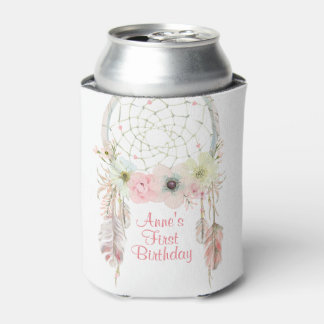 Dreamcatcher boho pink pastel Birthday decoration Can Cooler