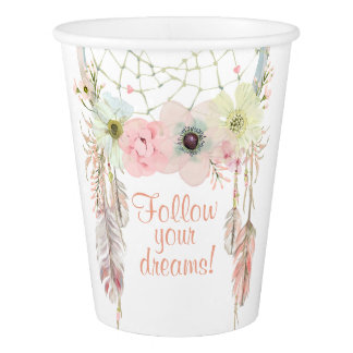 Dreamcatcher boho pink pastel Birthday decoration Paper Cup