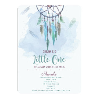 Dreamcatcher Invitation Boho Baby Shower Blue Boy