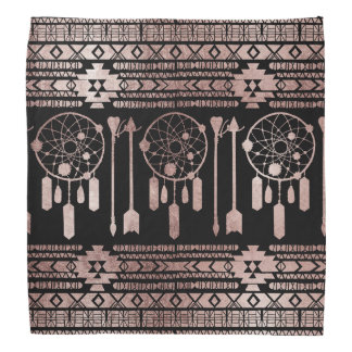 Dreamcatcher Rose Gold Tribal Aztec on Black Bandana