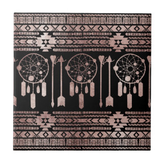 Dreamcatcher Rose Gold Tribal Aztec on Black Ceramic Tiles