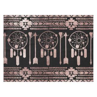Dreamcatcher Rose Gold Tribal Aztec on Black Tablecloth