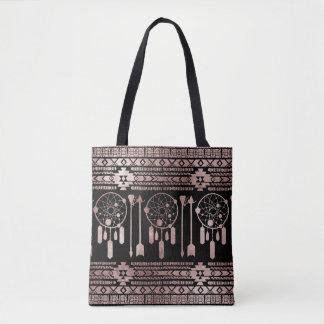 Dreamcatcher Rose Gold Tribal Aztec on Black Tote Bag