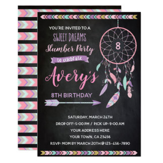 Dreamcatcher Slumber Party Invitation Chalkboard