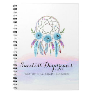 Dreamcatcher Watercolor Feathers Rustic Boho Chic Notebook
