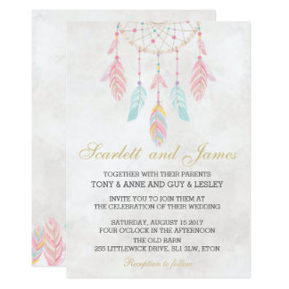 Dreamcatcher Wedding Invitation Tribal Boho Chic