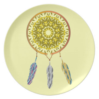 Dreamcatcher with Three Feathers Party Plate