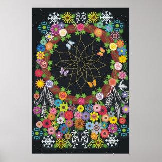 Dreamcatcher Wreath Floral Poster