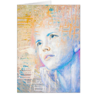 Dreamer | colorful art portrait painting of girl card