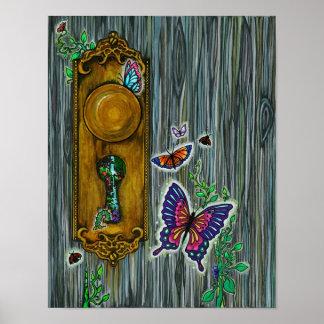 """Dreamer's Door"" Fantasy Butterfly Keyhole Art Poster"