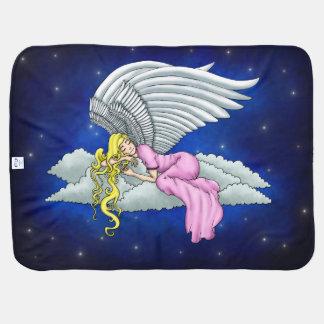 Dreaming angels in pink dress on cloud receiving blanket