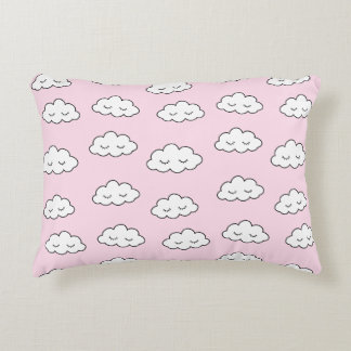 Dreaming clouds in pink accent pillow