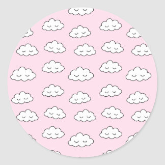 Dreaming clouds in pink classic round sticker