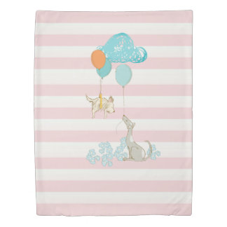 Dreaming Dogwood Pink Stripes and Creatures Duvet Cover