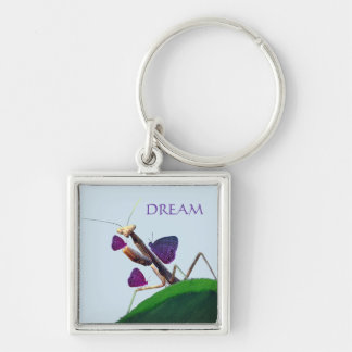 Dreaming Mantis Silver-Colored Square Keychain