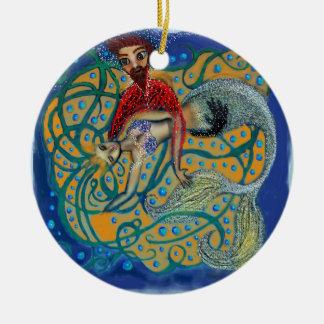 Dreaming Mermaid. Round Ceramic Ornament