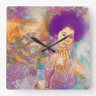 Dreaming My time Away Square Wall Clock