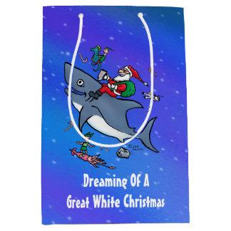 Dreaming Of A Great White Shark Christmas Custom Medium Gift Bag