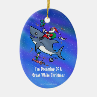 Dreaming Of A Great White Shark Christmas Ornaments