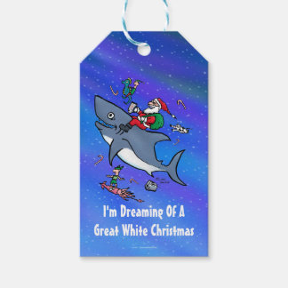 Dreaming Of A Great White Shark Funny Christmas Gift Tags
