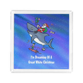 Dreaming Of A Great White Shark Funny Christmas Serving Tray