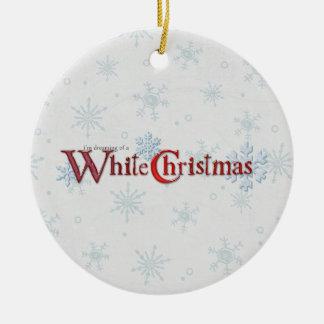 Dreaming of Christmas Snow Ceramic Ornament