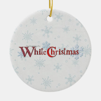 Dreaming of Christmas Snow Round Ceramic Ornament