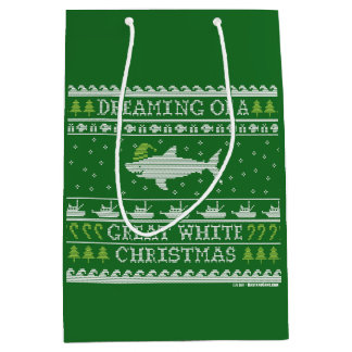 Dreaming of Great White Christmas Knitted Look Medium Gift Bag