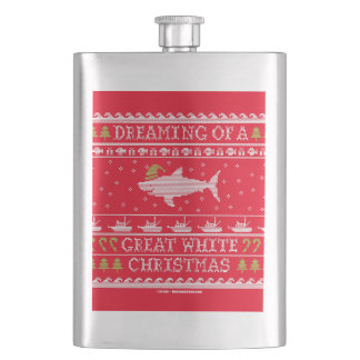 Dreaming of Great White Christmas Ugly Sweater Flasks