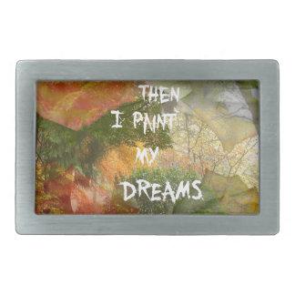 Dreaming of grey and orange roses rectangular belt buckles