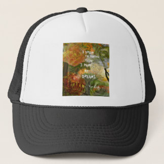 Dreaming of grey and orange roses trucker hat