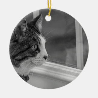 Dreaming Of Warmer Weather Grayscale Ceramic Ornament