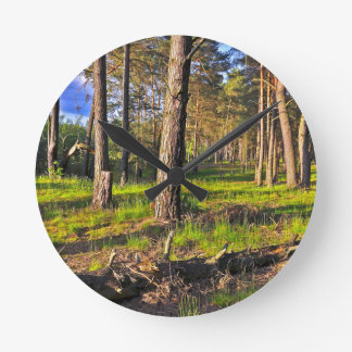 Dreaming Pine Trees into the Evening Light Round Clock