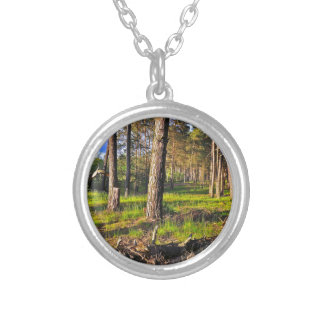 Dreaming Pine Trees into the Evening Light Silver Plated Necklace