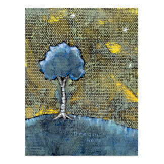 Dreaming tree art modern painting for dreamers postcard